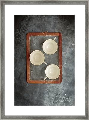 Challkboard Tea Cups Framed Print