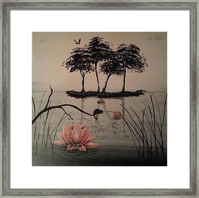 Chameleon On The Lake Framed Print