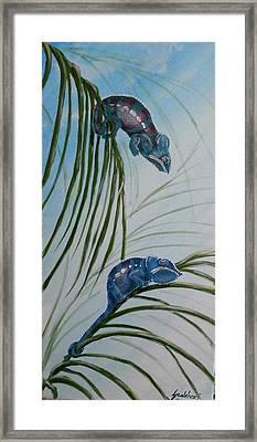 Chameleons On The Palm Trees Framed Print by Judit Szalanczi