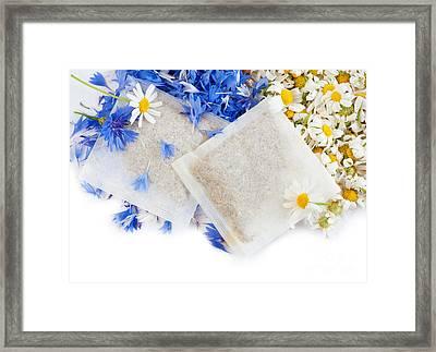 Chamomile With Cornflower Herbal Tea Sachets  Framed Print by Arletta Cwalina