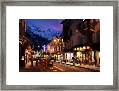Chamonix Town In The Shadow Of Mont Blanc In The French Alps Framed Print by Pierre Leclerc Photography