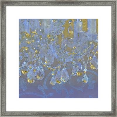Champagne Ballroom Closeup, Glowing Glitter Fantasy Chandelier Framed Print