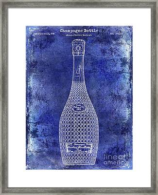 Champagne Bottle Patent Drawing Blue Framed Print