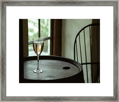 Champagne Glass Framed Print by Barry Shaffer