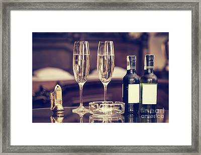 Champagne, Glasses, Antique Keys. Luxury Hotel Apartment, Room Service Framed Print
