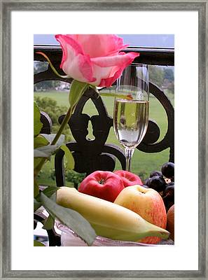 Framed Print featuring the photograph Champagne On The Balcony by Carl Purcell