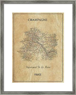 Champagne Region Of France Map  1852 Framed Print