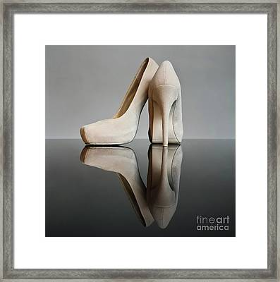 Framed Print featuring the photograph Champagne Stiletto Shoes by Terri Waters