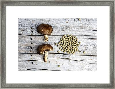 Champignons, Peas And Pepper Framed Print by Nailia Schwarz