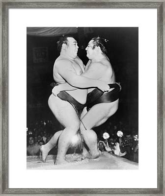 Champion Japanese Sumo Wrestlers Framed Print by Everett