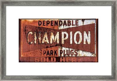 Champion Spark Plugs Framed Print by Paul Freidlund