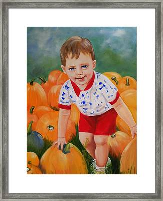 Chance With The Pumpkins Framed Print by Joni McPherson