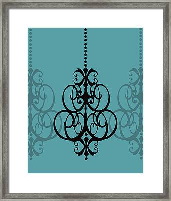 Framed Print featuring the photograph Chandelier Delight 1- Blue Background by KayeCee Spain