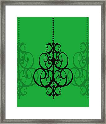 Framed Print featuring the photograph Chandelier Delight 1- Green Background by KayeCee Spain