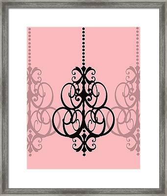 Chandelier Delight 1- Pink Background Framed Print