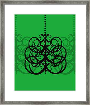 Framed Print featuring the photograph Chandelier Delight 2- Green Background by KayeCee Spain