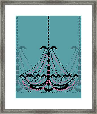 Chandelier Delight 3- Blue Background Framed Print