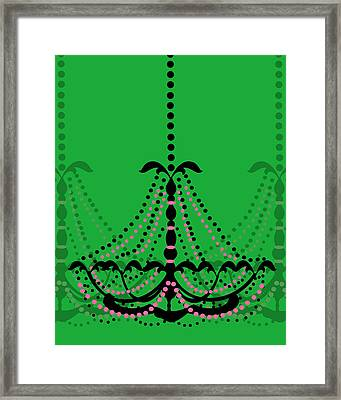 Framed Print featuring the photograph Chandelier Delight 3- Green Background by KayeCee Spain