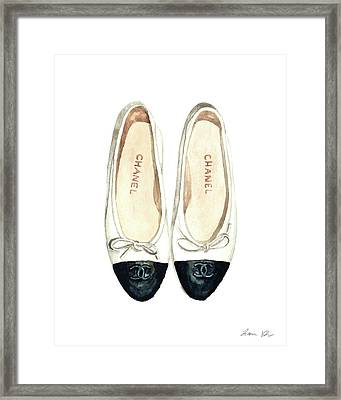 Chanel Ballet Flats Classic Watercolor Fashion Illustration Coco Quotes Vintage Paris Black White Framed Print by Laura Row