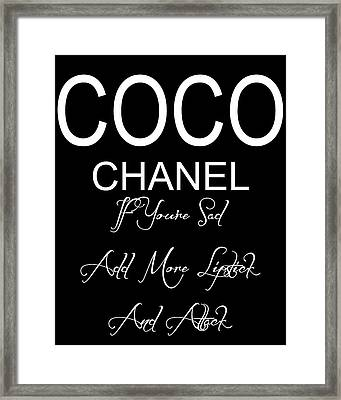 Chanel Lipstick Quote Framed Print