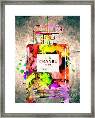 Chanel No 5 Grunge Framed Print by Daniel Janda