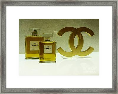 Chanel No 5 With Cc Logo Framed Print by To-Tam Gerwe