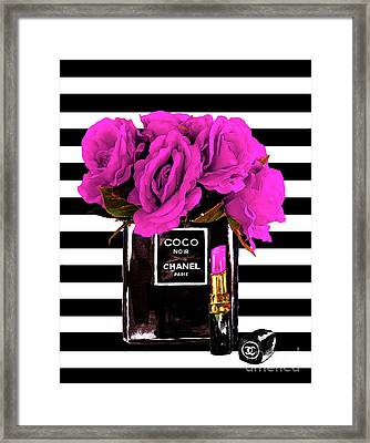 Chanel Noir Perfume With Flowers Framed Print by Del Art