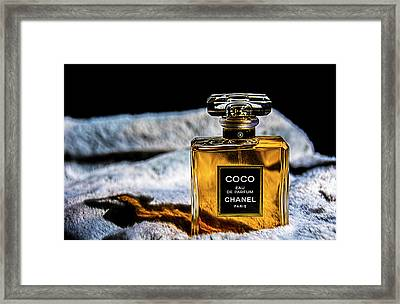 Chanel Vintage Perfume Bottle Framed Print by Renee Anderson
