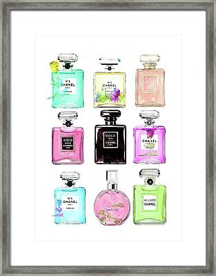 Chanel Perfume Set 9er Framed Print