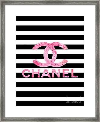 Chanel Pink Logo On Stripes Framed Print
