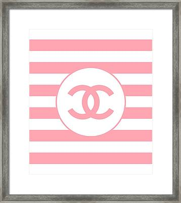 Chanel Pink Stripes Framed Print by Alta Vita