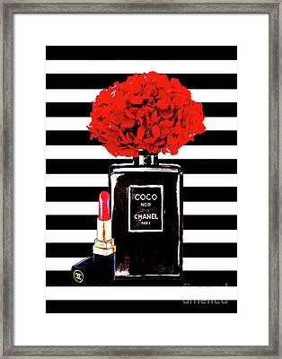 Chanel Poster Chanel Print Chanel Perfume Print Chanel With Red Hydragenia 3 Framed Print