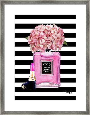 Chanel Poster Pink Perfume Hydrangea Print Framed Print by Del Art