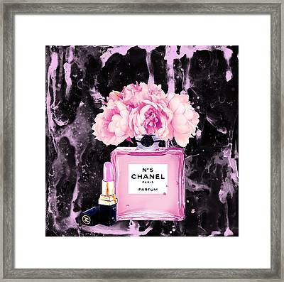 Chanel Print Chanel Poster Chanel Peony Flower Black Watercolor Framed Print