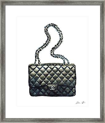 Chanel Quilted Handbag Classic Watercolor Fashion Illustration Coco Quotes Framed Print by Laura Row