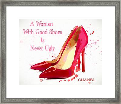 Chanel Shoe Quote  Framed Print