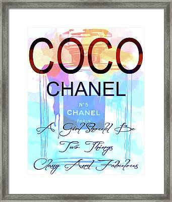Chanel Watercolor Quote Framed Print