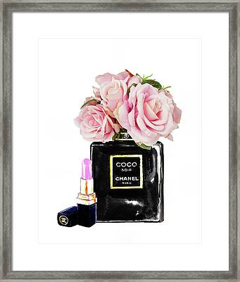 Chanel With Pink Roses Framed Print by Del Art