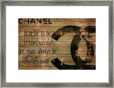 Chanel Wood Panel Rustic Quote Framed Print
