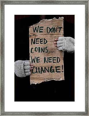 Change Framed Print by Empty Wall