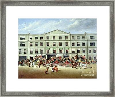 Changing Horses Outside The Plough Inn Framed Print