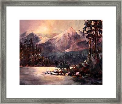 Changing Light On The Bulkley River Framed Print
