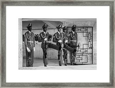 Changing Of The Guard Bw Framed Print