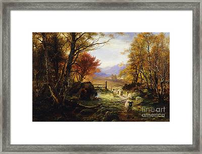 Changing Pastures, Evening Framed Print by Joseph Farquharson