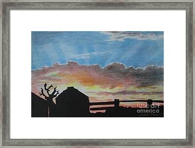 Changing Skys Fence Grain Bin Silhouette  Framed Print by Jeanette Skeem