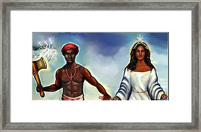 Chango And Yemaya Together Framed Print by Carmen Cordova