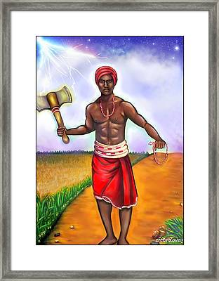 Chango -the Santeria Warrior Framed Print by Carmen Cordova