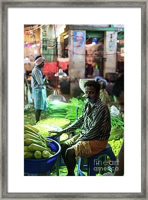 Channai India Vegetable Seller Framed Print