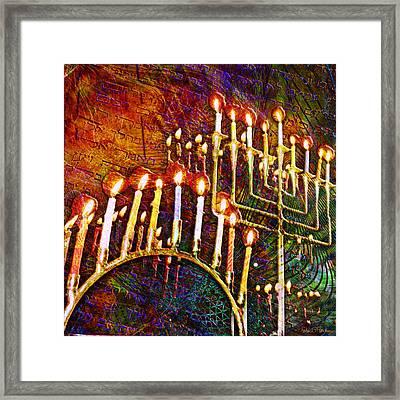 Chanukiah Framed Print by Barbara Berney