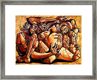 Chaos After The News Framed Print by Darwin Leon
